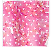 White Triangle Pattern on Pink Watercolor Paint Poster