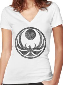 Nightingale Symbol Women's Fitted V-Neck T-Shirt