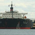 Coal ship Haramachi Maru - Newcastle Harbour NSW by Phil Woodman