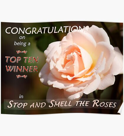 """Top Ten Winner – Stop and Smell the Roses""  Banner Poster"