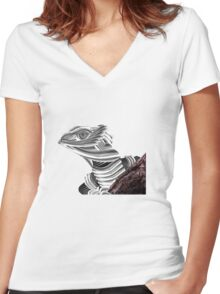 Robot Reptile Women's Fitted V-Neck T-Shirt