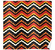 Orange, Black and White Ethnic Zigzag Pattern Poster