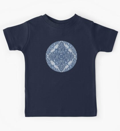 Denim Blue Lace Pencil Doodle Kids Tee