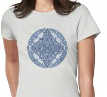 Denim Blue Lace Pencil Doodle Womens Fitted T-Shirt