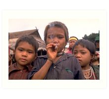 Karen hilltribe children smoking tobacco Art Print