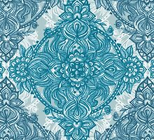 Teal & White Lace Pencil Doodle by micklyn