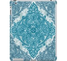 Teal & White Lace Pencil Doodle iPad Case/Skin