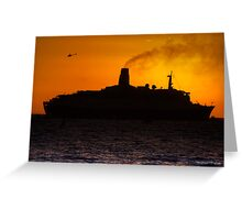 QE2 Sunset Greeting Card