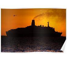 QE2 Sunset Poster