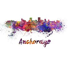 Anchorage skyline in watercolor Photographic Print