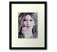 Gisele Bündchen in watercolor painting Framed Print