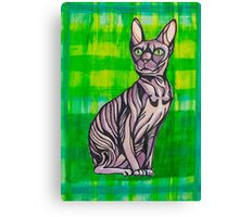 HeartFULL Cat Art: Sphynx Cat Mixed Media Painting Canvas Print