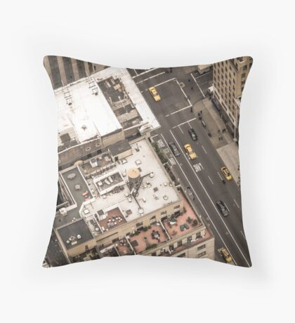 Vintage photograph of the streets New York City Throw Pillow