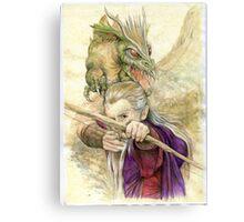 Elf Warior and Dragon Canvas Print