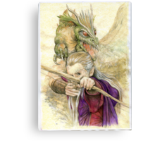 Elf Warior and Dragon Canvas Print