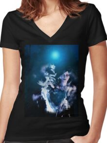 Dark Angel in the Forest 2 Women's Fitted V-Neck T-Shirt