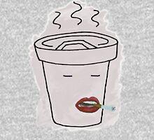 Coffee Mug Smoking a Cigarette Mens V-Neck T-Shirt