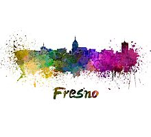 Fresno skyline in watercolor Photographic Print