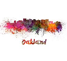 Oakland skyline in watercolor Photographic Print