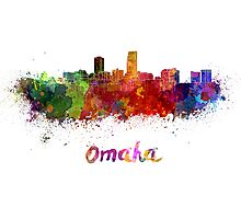 Omaha skyline in watercolor Photographic Print