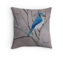 Winter Jay ~ oil painting Throw Pillow