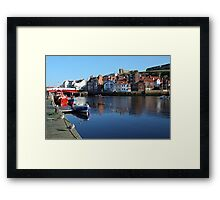 Seagulls dig boats, Whitby Framed Print