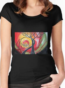 Original SURREAL landscape by ANGIECLEMENTINE Women's Fitted Scoop T-Shirt