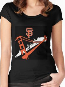San Francisco Giants Stencil Black Background Women's Fitted Scoop T-Shirt