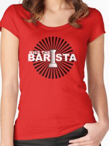 Kiss the barista Women's Fitted Scoop T-Shirt