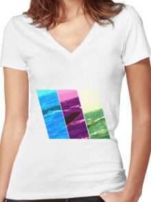 Whale - Humpback Women's Fitted V-Neck T-Shirt