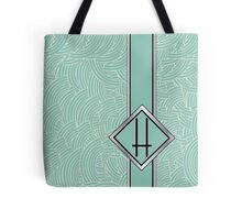 1920s Blue Deco Swing with Monogram letter H Tote Bag