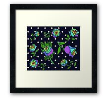 Rainbow roses with polka dots Framed Print
