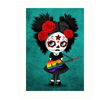 Sugar Skull Girl Playing Gay Pride Rainbow Flag Guitar Art Print