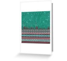 Pink and Teal Modern Aztec with Faux Teal Glitter Greeting Card