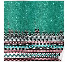Pink and Teal Modern Aztec with Faux Teal Glitter Poster