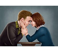 A Forehead Touch Between Two Scientists Photographic Print