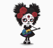 Sugar Skull Girl Playing Rainbow American Flag Guitar One Piece - Short Sleeve