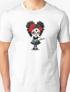 Sugar Skull Girl Playing Rainbow American Flag Guitar Unisex T-Shirt
