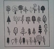 Doodled trees in simplicity by AnnestiMeets