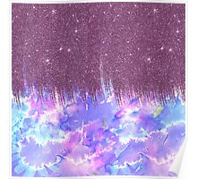 Pink, Blue, and Purple Watercolor and Faux Glitter Poster