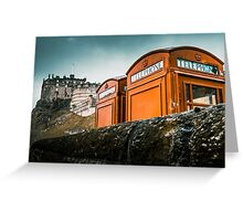 Red Phoneboxes By Edinburgh Castle Greeting Card
