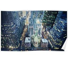 """New York Nightlights"" Watercolor Poster"