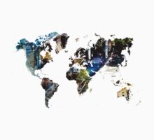 Map of the world blue watercolor Kids Clothes