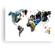 Map of the world blue watercolor Canvas Print