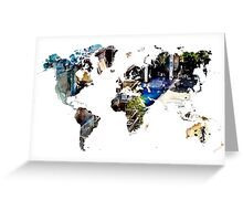 Map of the world blue watercolor Greeting Card