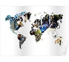 Map of the world blue watercolor Poster