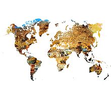 Map of the world house living Photographic Print