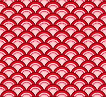 Art Deco Wave Pattern - coral red and pink by Marymarice