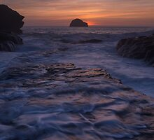Trebarwith Strand Cornwall afterglow by richardleah