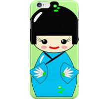 Cute Kokeshi doll on green iPhone Case/Skin